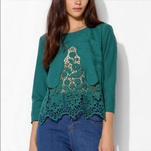 Urban Outfitters Teal Crochet Lace Top